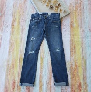 AG The Tomboy Relaxed Straight Distressed Jeans 27